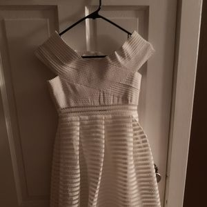 boohoo White Off the Shoulder Midi Dress